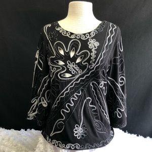 Lauren Michelle Sparkling Embroidered Black Top